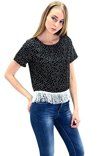 DSguided Sternen Shirt mit Fransen am Saum in drei Farben Schwarz