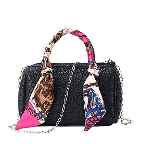 en Umhängetasche Messenger Bag Handtasche Bostontasche Beuteltasche Design Retro Vintage mit Schal ()