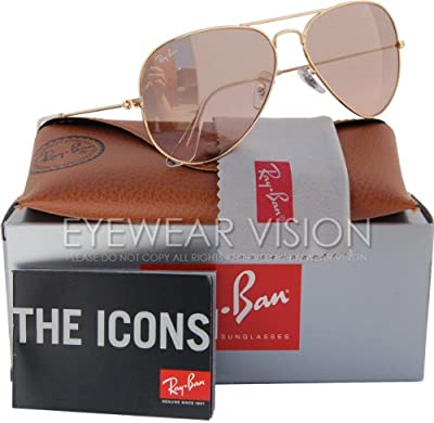 Ray-Ban Aviator gradiente 55mm oro w/plata, rosa espejo Gafas de sol