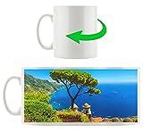 albero mediterraneo sulla tazza blu mare motivi in ??bianco 300ml ceramica, grande idea regalo per ogni occasione. La tua nuova tazza preferita per caffè, tè e bevande calde.