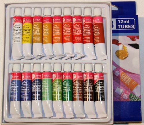 Acrylfarben Set mit 36 Tuben bestehend aus 2 Sets je 18 Tuben