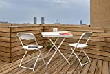 #7: Balcony/Garden Folding Furniture Set: 1 Table & 2 Chairs - White