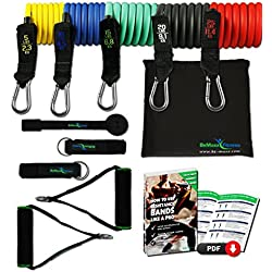 Juego de bandas elásticas resistencia BeMaxx Fitness + Guía de entrenamiento | 5 Tubos / Cintas de látex, asas acolchadas, correas para el tobillo y anclaje para puertas para cuerpo entero