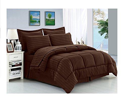 Eleganten Komfort knitterfrei–seidig weich Dobby Stripe bed-in-a-bag 8-teilig Tröster Set–-hypoallergenic–King Schokolade