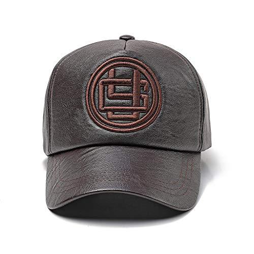 Herren Damen Baseballkappe PU Leder Basecap Schirmmütze Kappe Winter Caps Hip Hop (Braun-2)