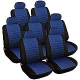 WOLTU 7 pièces Housse de Siège de voiture universelle Noir Bleu,7232-7