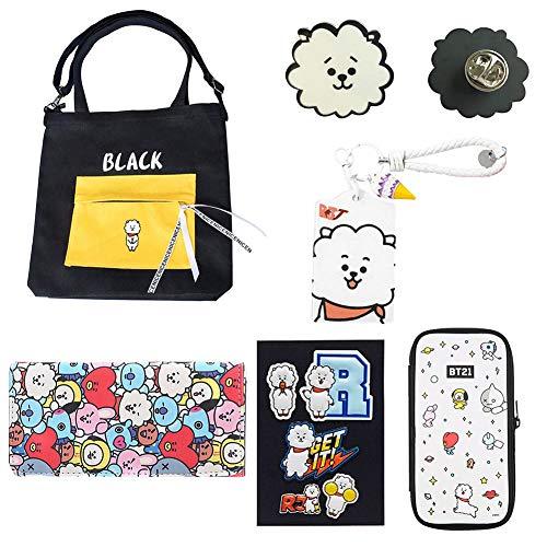 ALTcompluser Satz von Kpop BTS Handtasche Geldbörse Kit Abzeichen Kartenhalter Aufkleber, Geschenke für die BTS(RJ) -