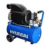 HYUNDAI Kompressor AC2401E (Druckluftkompressor mit 24 Liter Druckbehälter, ölgeschmiert, Betriebsdruck 8 bar, Motorleistung 1.5 kW (2.0 PS), 2 Schnellkupplungen, Ansaugleistung 206 L/Min)