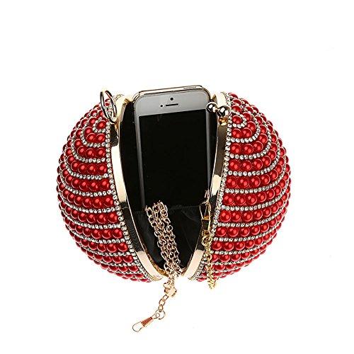 KAXIDY Damen Clutches Klassische Abendtasche Handtasche Rot