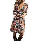 Jaysis Robe Femme Imprimée à Manches Longues et en Col V Robe de Mousseline de Soie d'été Bohème Robe de Plage de Partie Florale Robe Maxi Longue