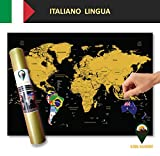 Global Walkabout ITALIANO - Mappa gratta e vinci con sfondo Bandiere - Manifesto Della Mappa Mondiale Deluxe - Paesi E Fatti - Regalo Di Viaggio (Nero)