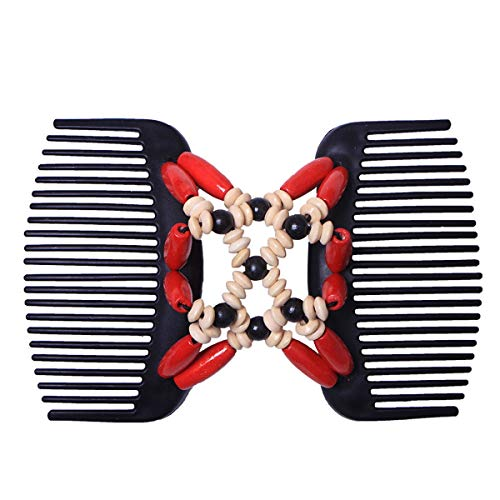 (HaiQianXin Frauen Vintage Magic Wood Perlen Kamm Stretchy Double Side Combs Clip Bun Maker Haarschmuck (Color : Red))