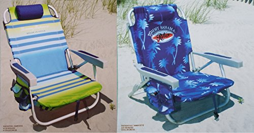 2-tommy-bahama-2015-backpack-cooler-chairs-with-storage-pouch-and-towel-bar-1-green-striped-and-1-bl