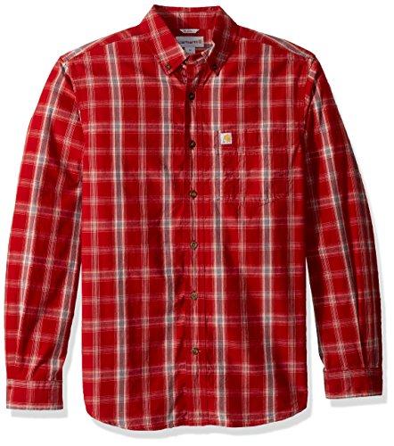 Carhartt Men's M Essential Plaid Button Down Long Sleeve Shirt, Dark Crimson, 2X-Large