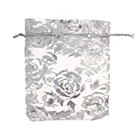 Orien 50 PCS Transparency Rose Wedding Candy Favor Bag Jewelry Gift Pouch Silver 3.54*4.72 Inch