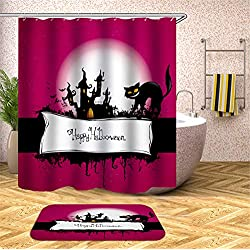 Gato del Árbol De La Luna del Castillo del Gato De Halloween. Cortina De La Ducha. Impermeable. 180X180Cm. Alfombra. Además De Terciopelo. 40X60Cm.
