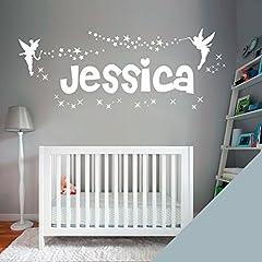 Idea Regalo - Adesivi da parete personalizzabili per nome ragazza, motivo:Fata Campanellino e stelle -, Targa in vinile, Silver, L (950 x 290 mm)