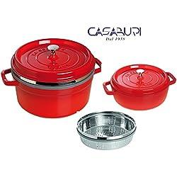 Casserole Staub rouge cerise cm 26 avec panier vapeur + casserole basse ronde 26 cm
