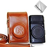 First2savvv braun Premium Qualität Ganzkörper- präzise Passform PU-Leder Kameratasche Fall Tasche Cover für Ricoh GR II GR - XJD-GRII-09G11