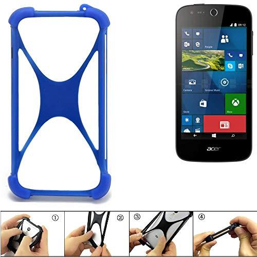 K-S-Trade Bumper für ACER Liquid M330 Silikon Schutz Hülle Handyhülle Silikoncase Softcase Cover Case Stoßschutz, blau (1x)