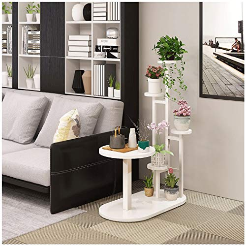 YONGYONG Blumenregal Sofa Side Kombination Regal Kreative Couchtisch Mehrschichtige Innenraum Sofa Side Mehrere Kombination Racks Schmiedeeisen Blumentopf Rack (Color : White Frame+Warm White Plate) - White Metal Plate Rack