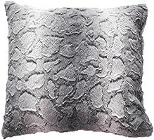Douceur d'Intérieur Coussin Imitation Fourrure Sibérie Polyester Gris 40 x 40 cm