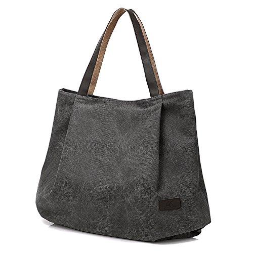 Groß Canvas Tote Tasche, Gindoly Vintage Durable Casual Unisex Handtasche Schultertasche für Shopping Travel School und Arbeit (Grau) (Tote Bag Braun Canvas)