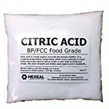 Hexeal CITRIC ACID | 1KG BAG | 100% Anhydrous | Fine | GMO Free | BP/FCC Food Grade