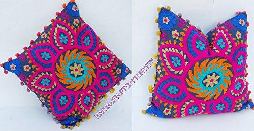 handicraftodpinkcity bestickt 2Pcs Viel Vintage Suzani Kissenhülle bestickt 40,6x 40,6cm indischen Kissen Fall dekorative -