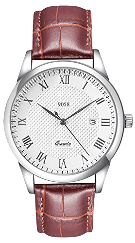 Vdsow - orologio da polso da uomo, analogico, al quarzo, con cinturino di pelle marrone, impermeabile, con data, stile classico e alla moda, adatto ad ambienti di lavoro, quadrante ampio