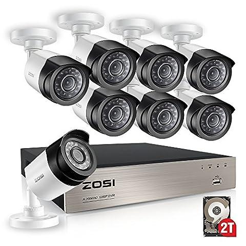 ZOSI 8CH TVI 1080P Vidéo Enregistreur Numérique Disque dur 2To 8 Caméras Bullet Weatherproof 2,0Mégapxiels Vision Nocturne 20m, Code QR pour Accès à distance par Smartphone / PC, Sytème de Surveillance CCTV