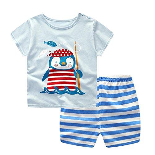 Sommer Babykleidung Kinder Baby jungen T-shirt und Hosen Outfits NeugeborenenSommer Anzug Kinder T-shirt und Hose Bekleidungssets Kleidung Set (6 Monate-3 Jahre) LMMVP (Blau, 80CM (12Monate))