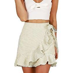 Faldas Mujer Cortas Verano Elegante Rayas con Volantes Minifalda Fiesta Niñas Ropa Fashionista Joven Casuales De Calle Ropa (Color : Apricot, Size : L)