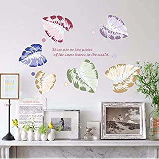 Hjtktt Color Leaf Detachable Wall Sticker Living Room Bedroom Wall Decoration Vinyl Art Applique Mural Detachable Wallpaper 95 * 66 cm