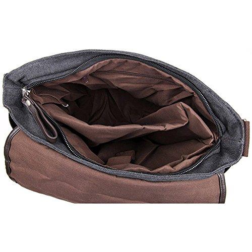 E-Bestar Herren Canvas Handtasche Canvas Tasche Herren Umhängetasche Herren Schultertasche Vintage Herren Aktentasche Handgepäck schwarz