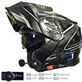 V271 LIGHTNING MOTORRADHELME BLUETOOTH VCAN BLINK BLUETOOTH MP3 SAT NAV KLAPPHELME SCHWARZ (XL)