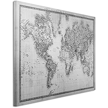 World map canvas art print black on white 22x34 inch a1 97 canvas print 50 x 70 cm black white top quality world map 1860 gumiabroncs Gallery