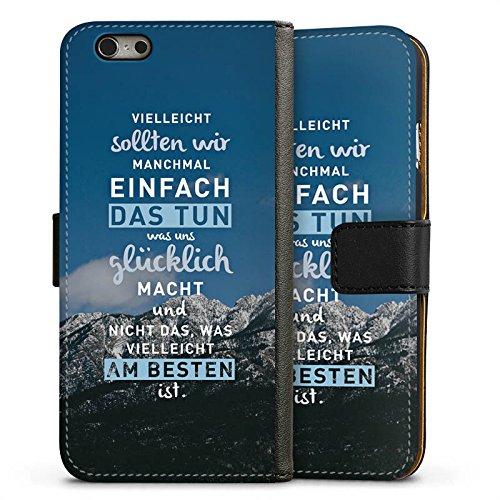 Apple iPhone X Silikon Hülle Case Schutzhülle Sprüche Glücklich Statement Sideflip Tasche schwarz