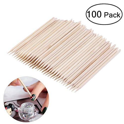 Tinksky 100pcs Nagel Art Design Orange Holz Stick Pusher-Entferner Maniküre Nagelhautpflege