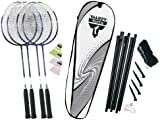 Talbot Torro 4-Fighter Premium Badminton Set with 4 Racquets, 3 Shuttlecocks and Net - Silver-Grey / White