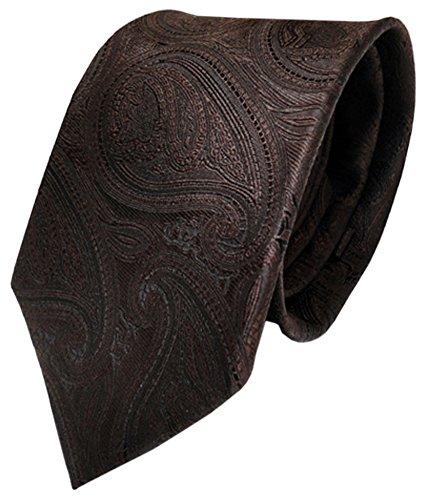 TigerTie Designer Krawatte braun dunkelbraun paisley Muster - Binder Tie