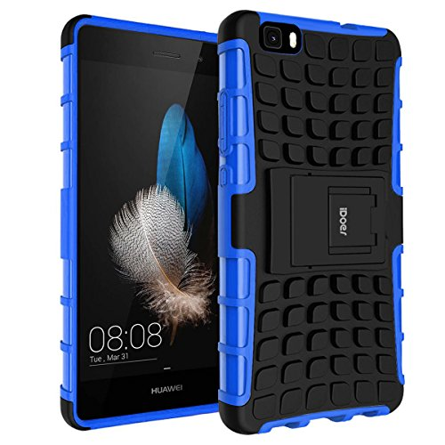 Coque P8 Lite,iDoer Armor Support Protection Étui P8 Lite Case Housse Etui Bumper Antichoc Cas Incassable Coque pour Huawei P8 Lite 5 pouces - bleu