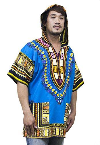 Lofbaz Unisex Dashiki Tradizionale Africana Hippy Boho Design #1 Blu L