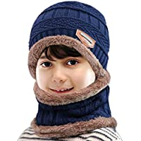 Petrunup 2Pcs Boys Beanie Hat and Loop Scarf Set, Warm Winter Hats Knitted for Girls Kids Children