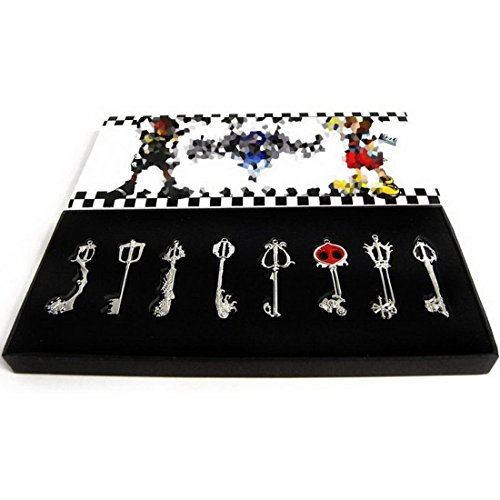 cosplay-tool-accessory-kingdom-hearts-key-blade-key-chain-necklace-silver-eight-set-japan-import