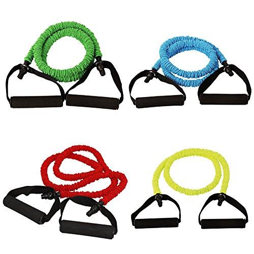 POWRX Tube Expander | Fitnessband mit Schaumstoffgriffen | RUTSCHSICHER | Für Yoga Pilates Fitness Kraft Training (Grün (medium)) (Ziel Tube)