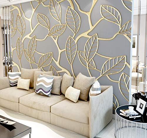 Gold Leaf Wallpaper (3D Vliestapete Fototapete 3D Gold Three-Dimensional Leaves Tv Background Wall Personalized Custom Wallpaper Mural Non-Woven Wall Cloth Living Room Bedroom, 350 * 245)