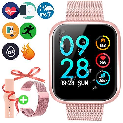 Braccialetto Smart Touch a Colori HD Smartwatch, Fitnees Tracker Sportiva Intelligente Orologio IP67 impermeabile con Cardiofrequenzimetro e Pressione Sanguigna Compatibile per iOS Android,Oro Rosa
