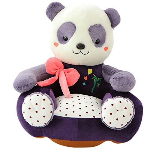 Vercart - Puf infantil en forma de panda (cama y sofá para niños, algodón, asiento suave y cómodo, 45 cm), tela, morado, 50 cm