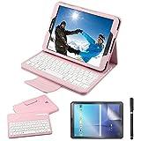 Custodia Galaxy Tab S2 9.7 Bluetooth Tastiera con screen protector & stylus, REAL-EAGLE Pelle PU Custodia con Wireless Staccabile Keyboard per Samsung Galaxy Tab S2 9.7 SM-T810 T813 T815 T819, Pink